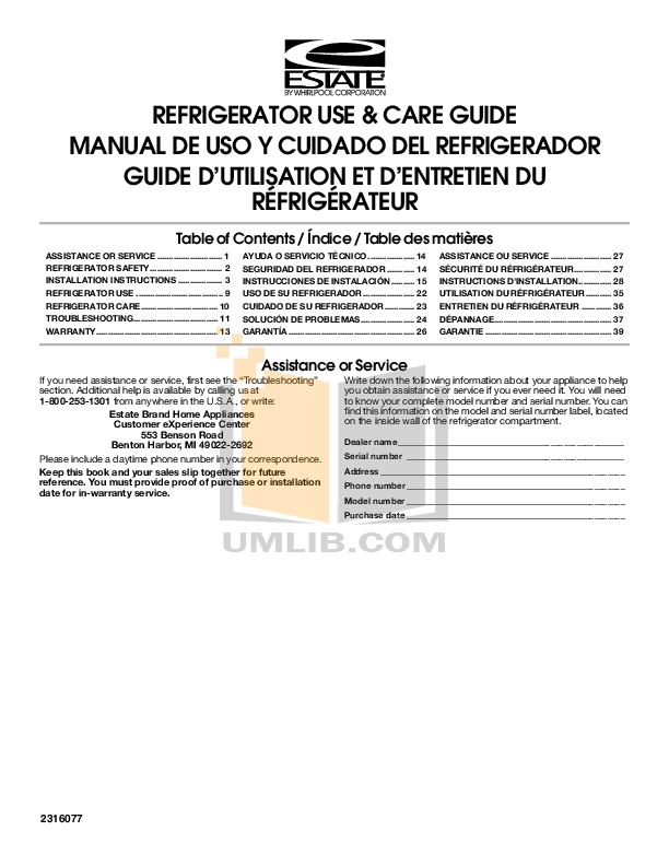 pdf for Estate Refrigerator TT14DKXSQ manual