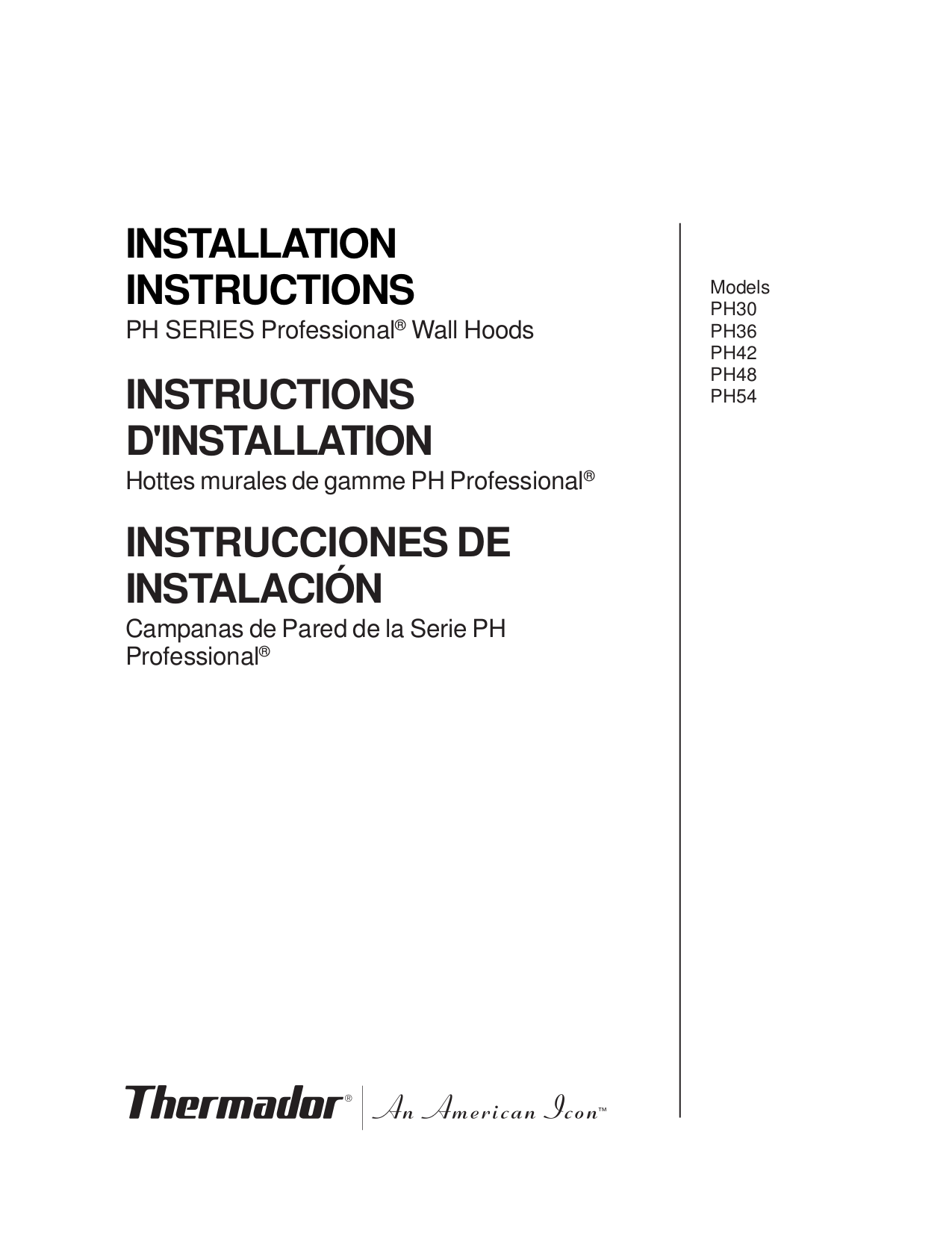 pdf for Thermador Other PH36 Wall Hoods manual