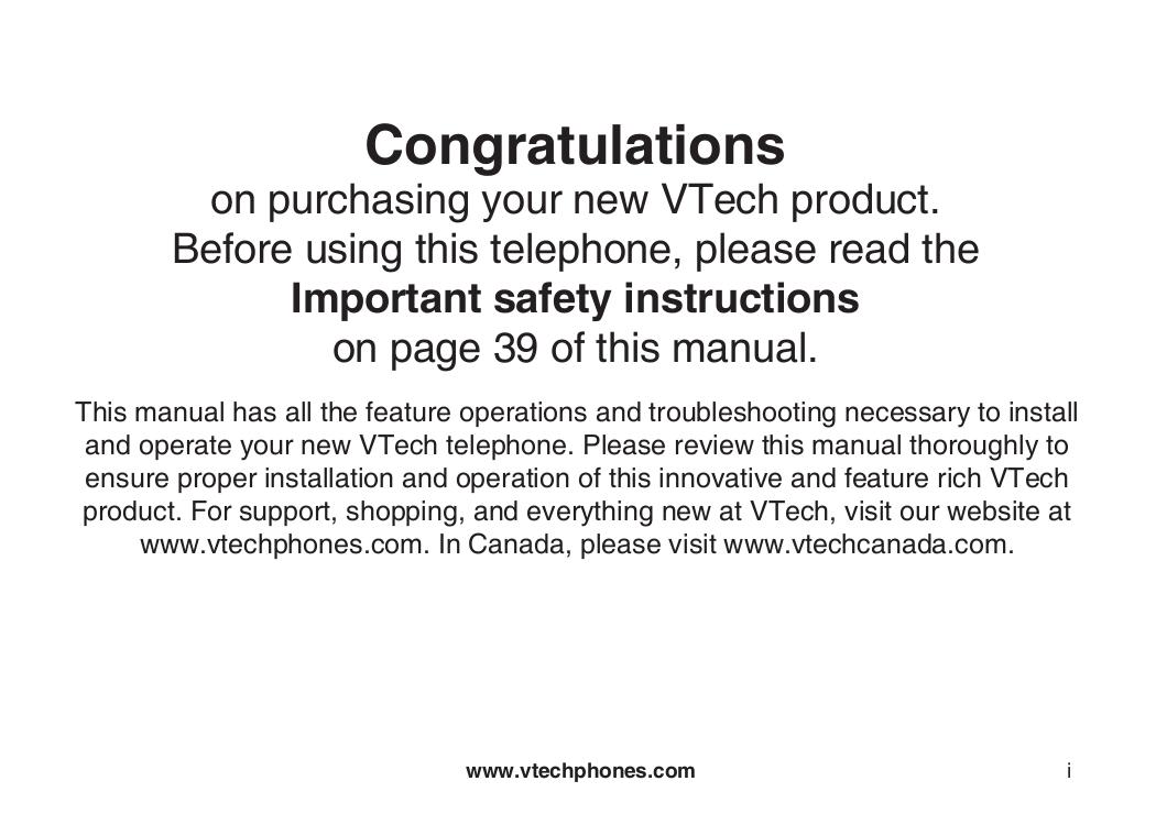 pdf for Vtech Telephone 6042 manual