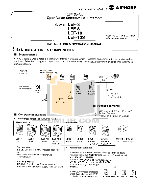 pdf for Aiphone Other LEF-10C Intercoms manual