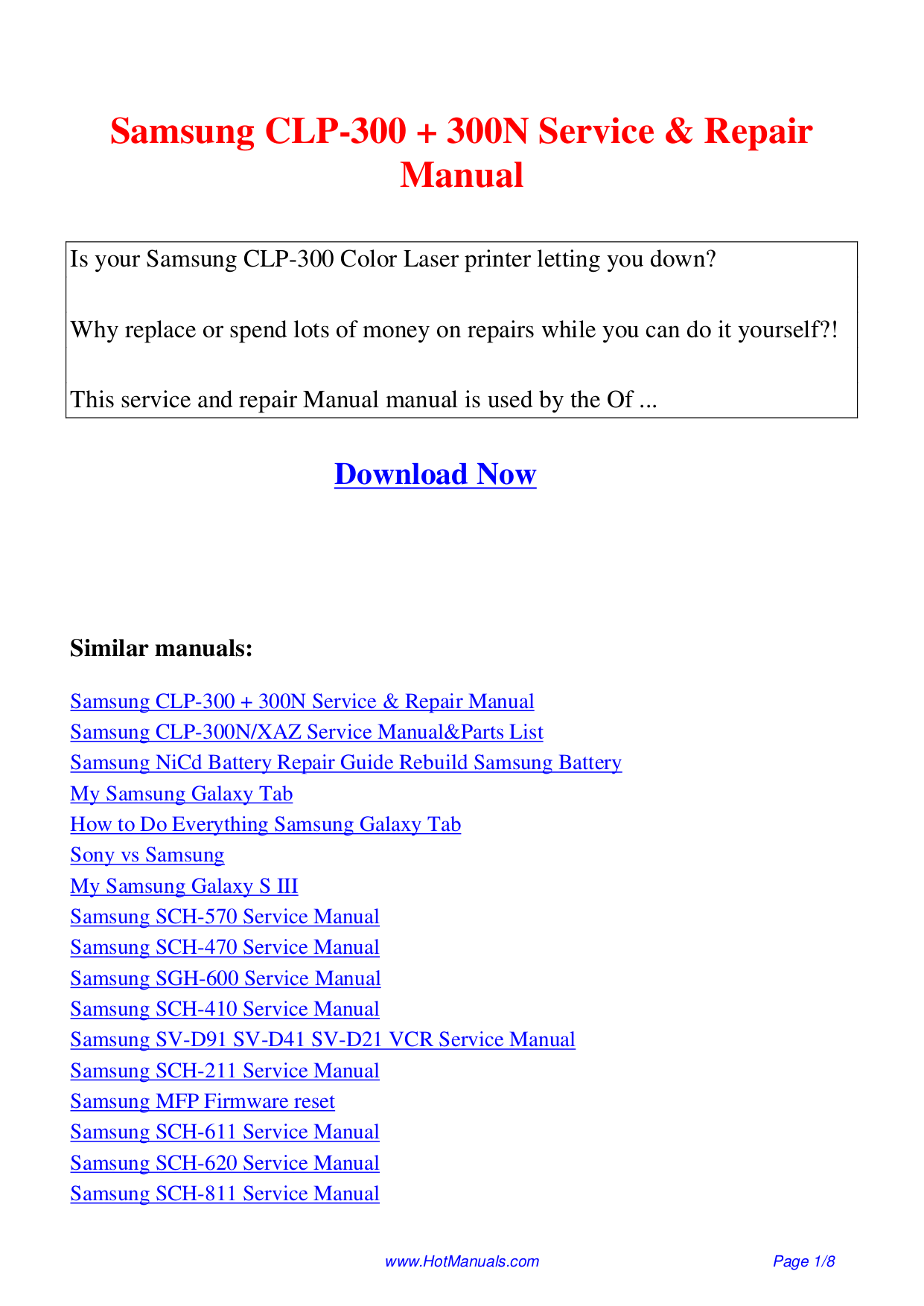 Samsung Clp 300 300n Service Repair Manual