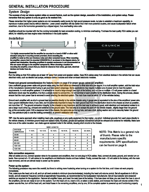 pdf manual for crunch car amplifier ground pounder gpv  crunch car amplifier ground pounder gpv800 2 pdf page preview