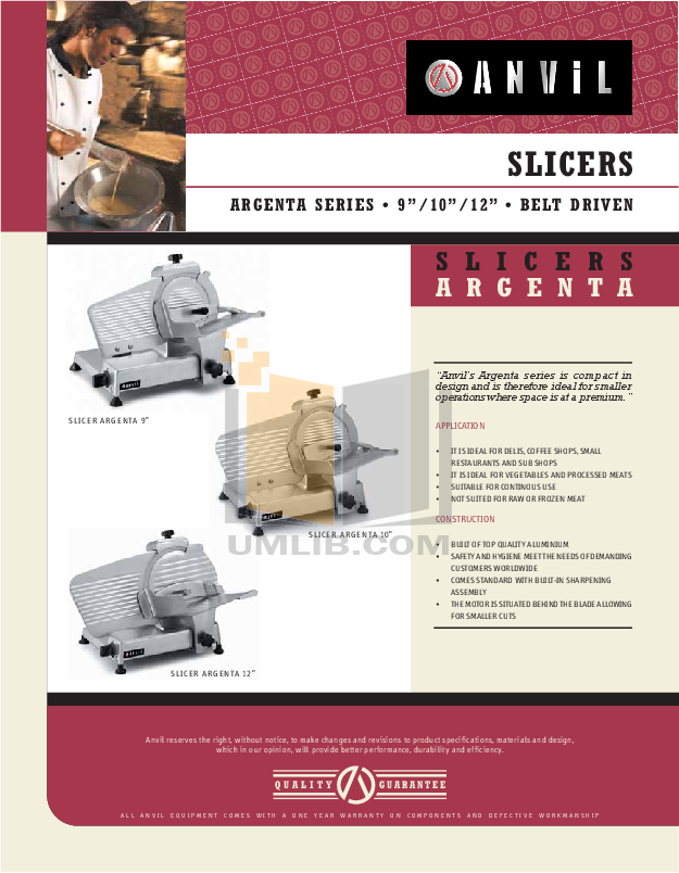 pdf for Anvil Other SLR7010 Slicers manual