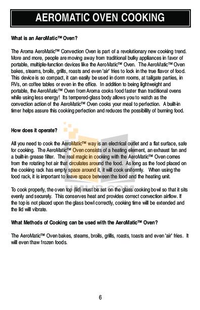 Aroma Oven Aeromatic AST 900E Pdf Page Preview