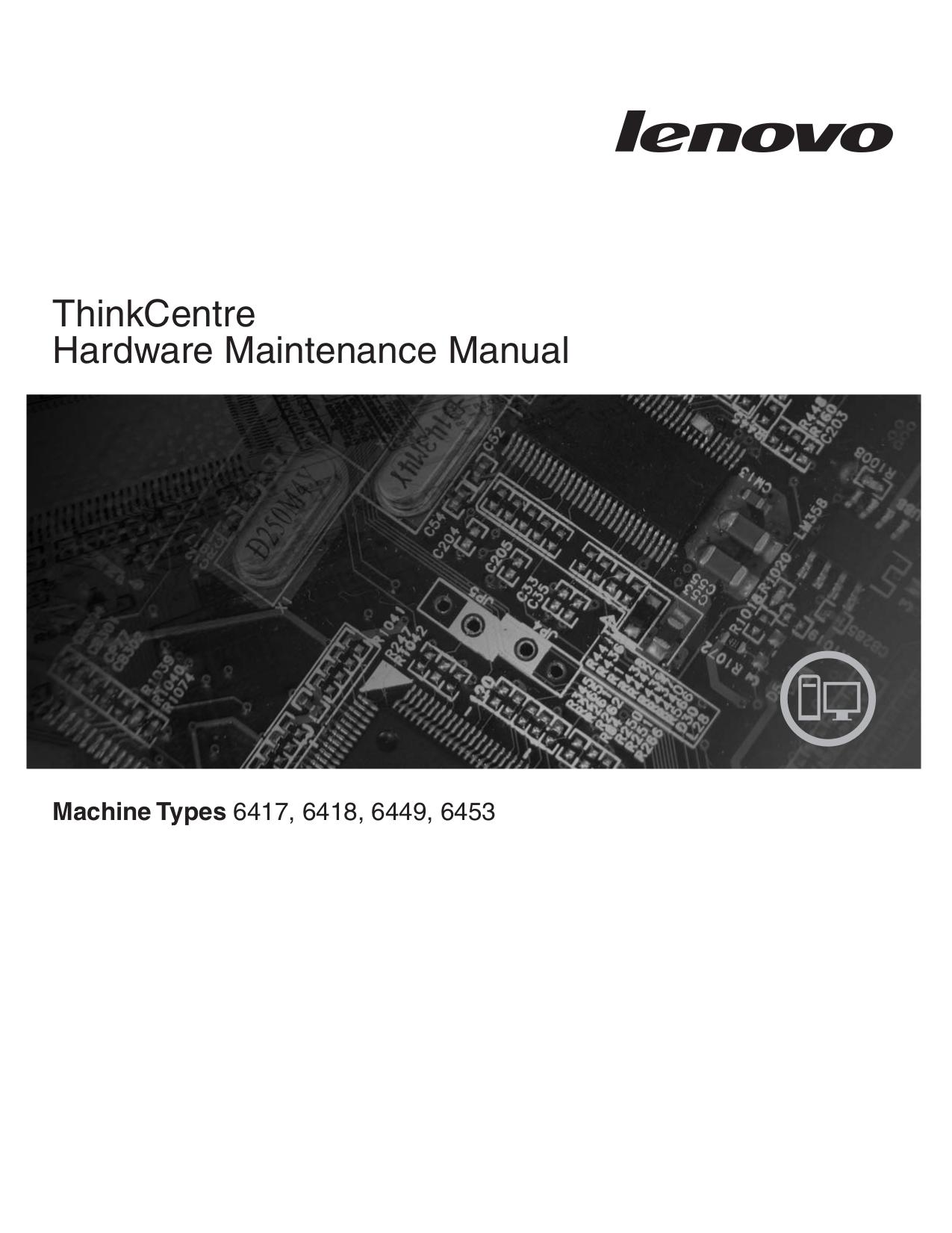 pdf for Lenovo Desktop ThinkCentre A61e 6453 manual