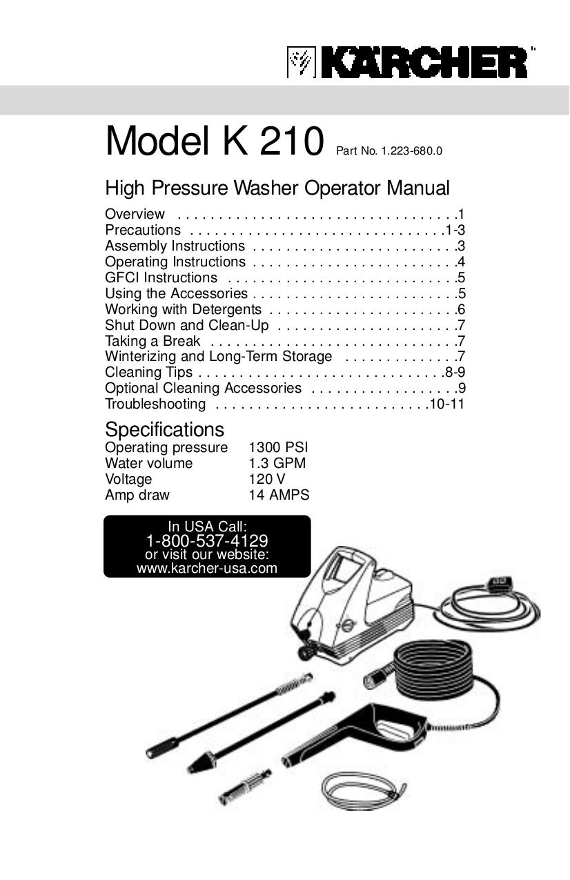 Download Free Pdf For Karcher K 210 Plus Pressure Washers