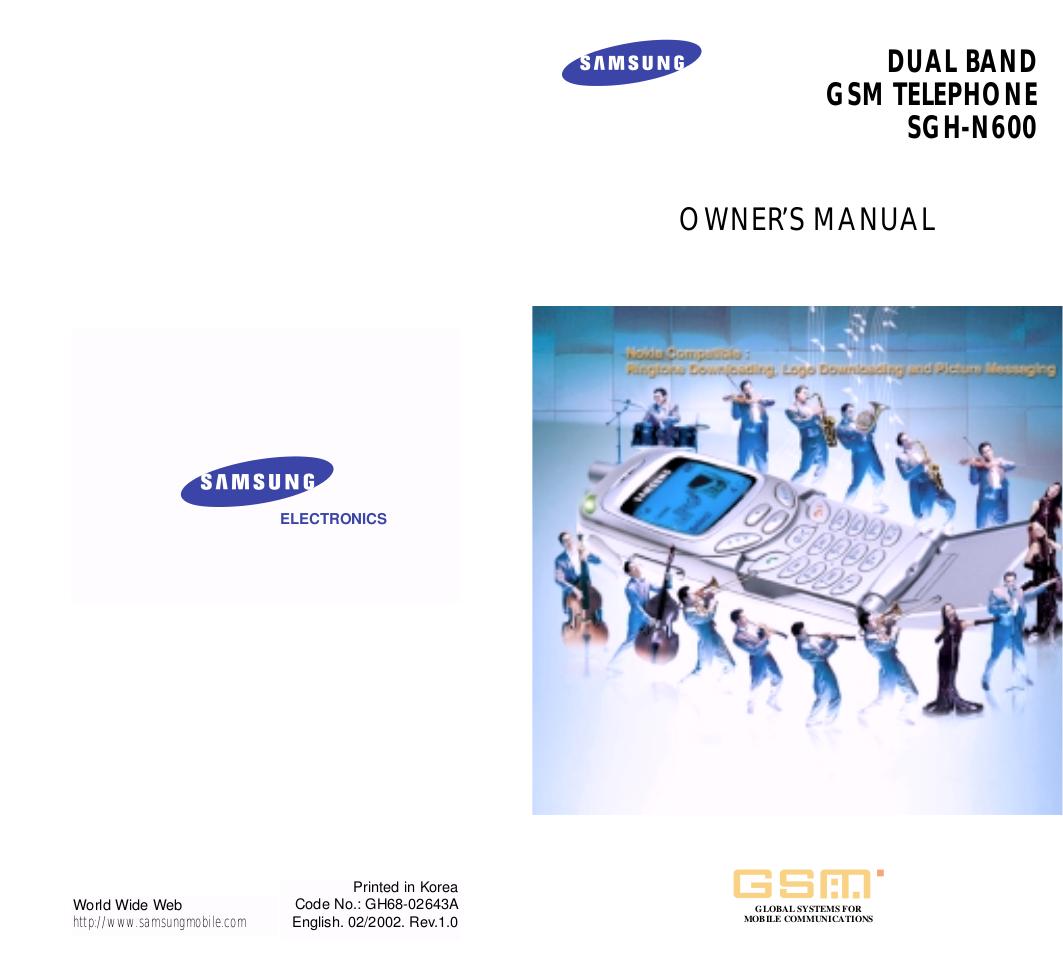 pdf for Samsung Cell Phone SGH-N600 manual