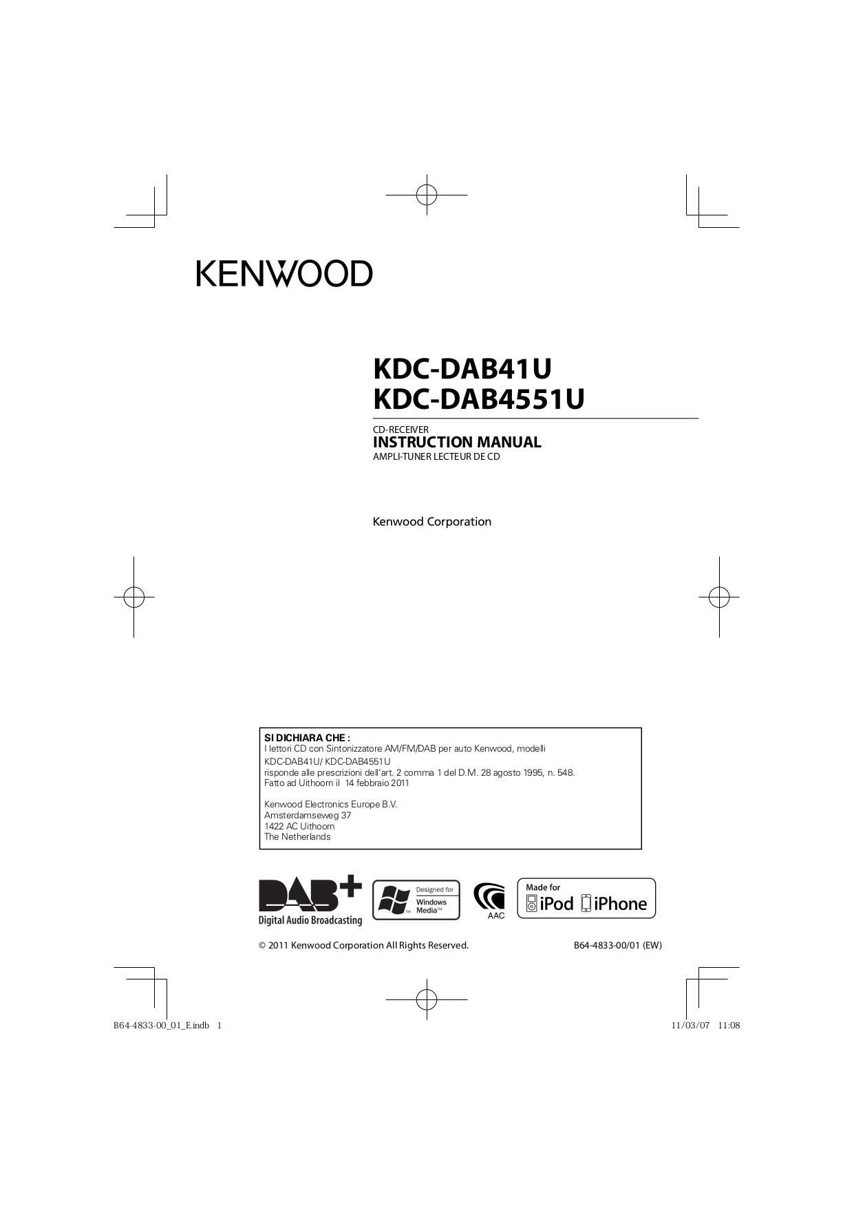 pdf for Kenwood Car Receiver KDC-2011S manual