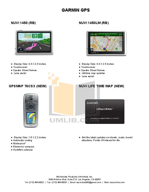 PDF manual for Garmin GPS Nuvi 1300