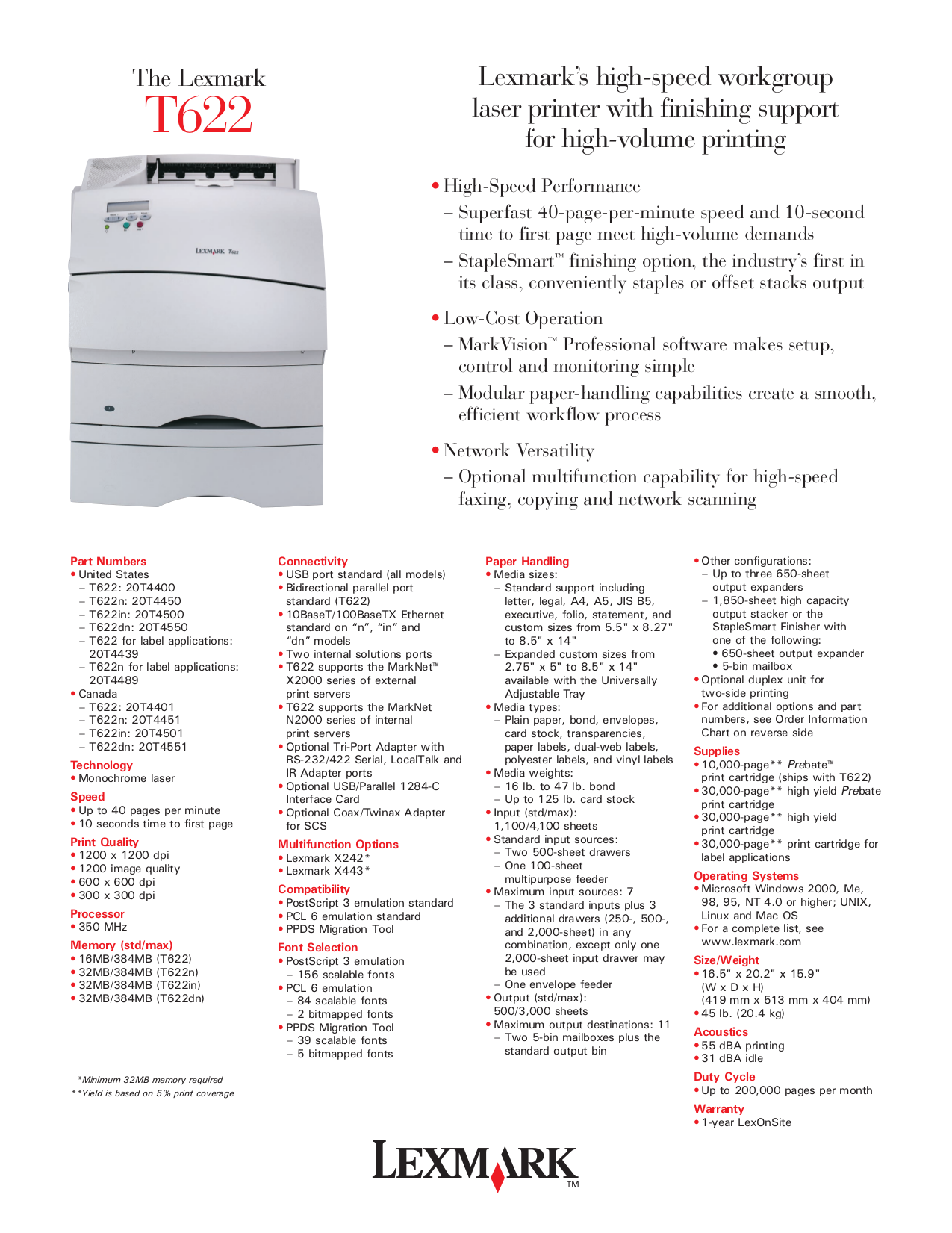pdf for Lexmark Printer T622dn manual