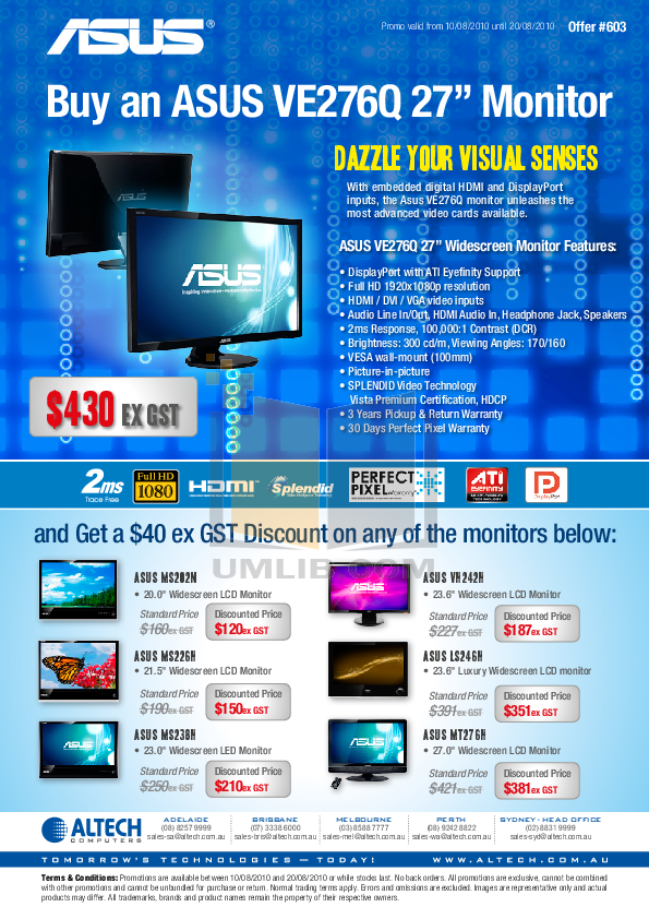 pdf for Asus Monitor MS226H manual