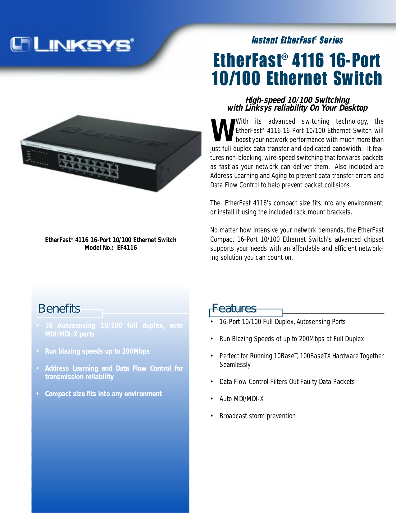 pdf for Linksys Switch EF4116 manual