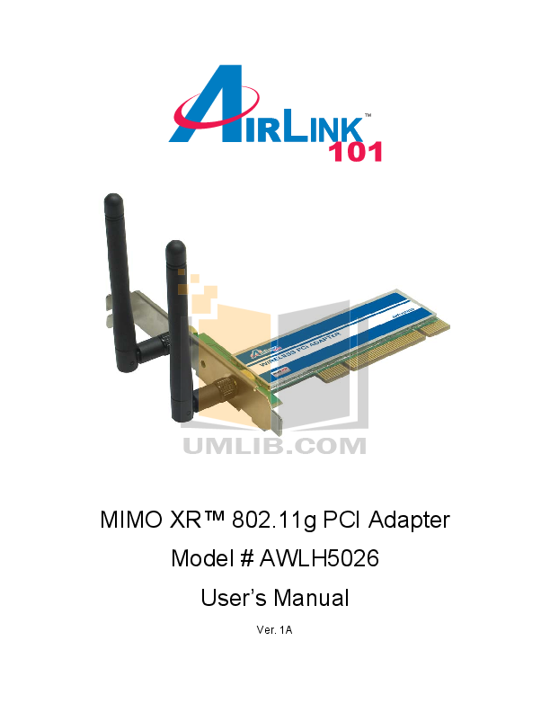 pdf for Airlink Other AWLH5026 Adapters manual