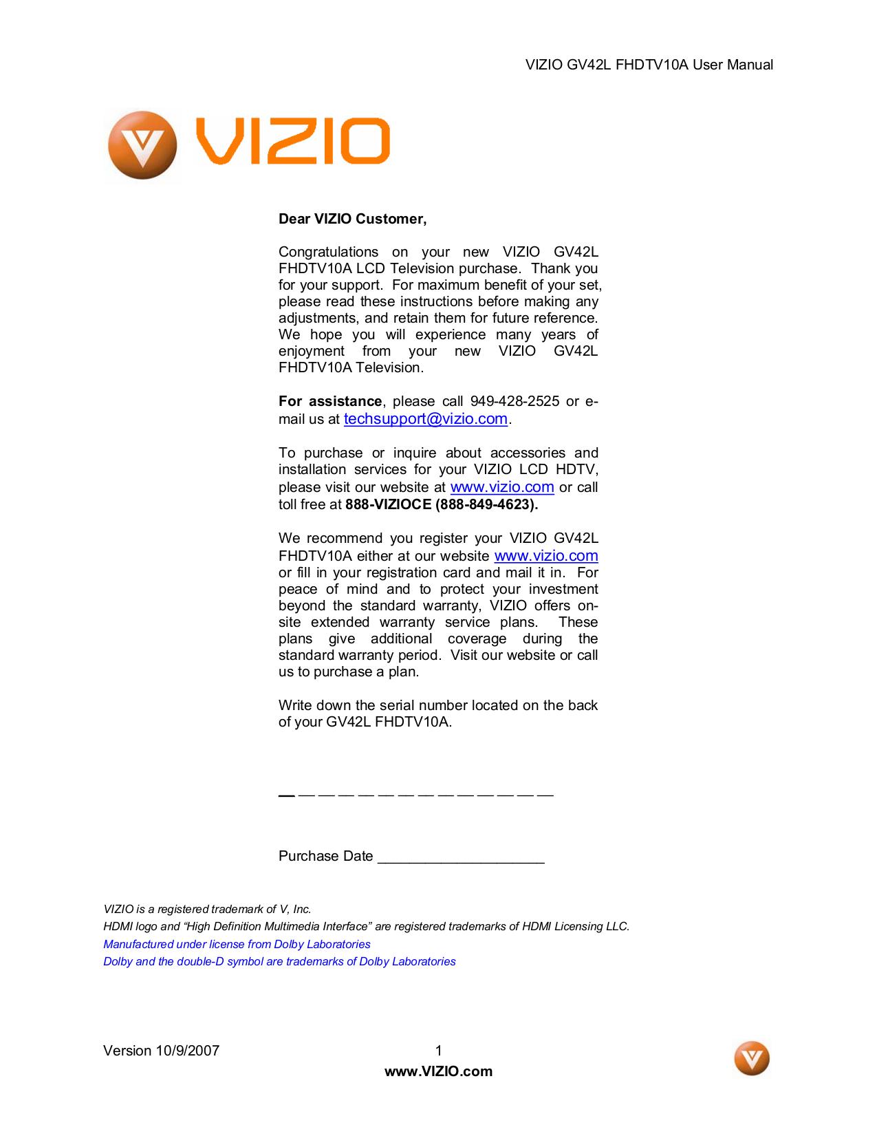 pdf for Vizio TV GV42L manual