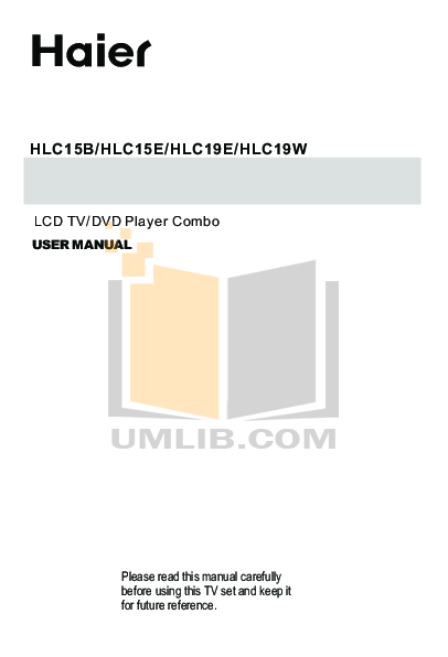 pdf for Haier TV HLC19T manual