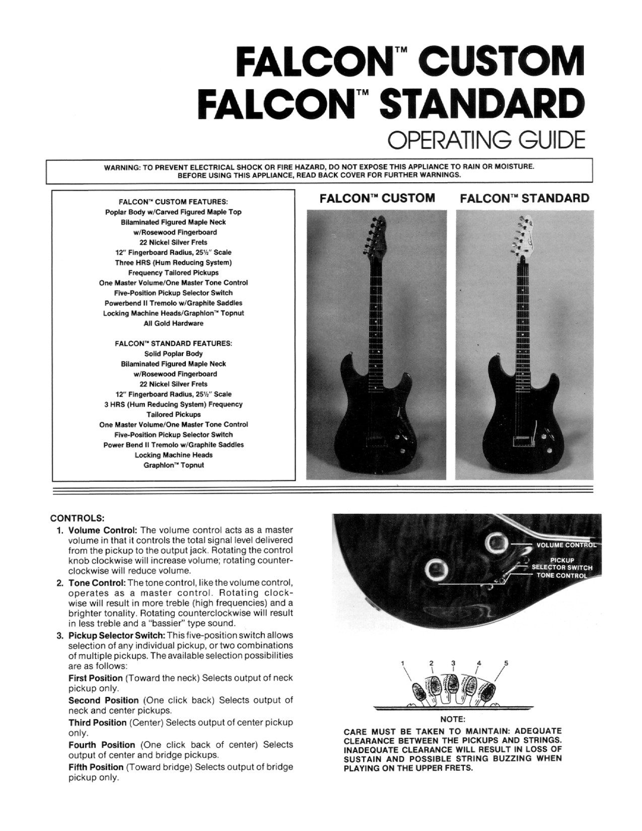 pdf for Peavey Guitar Falcon manual