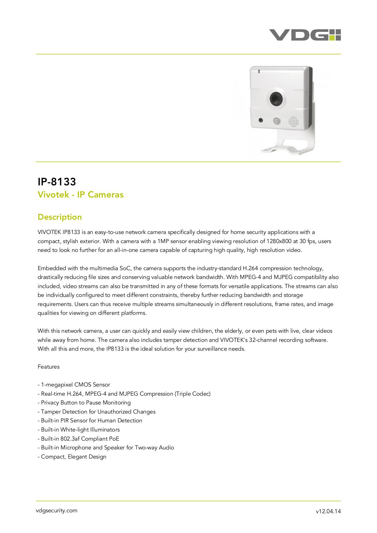 pdf for Vivotek Security Camera IP8133 manual