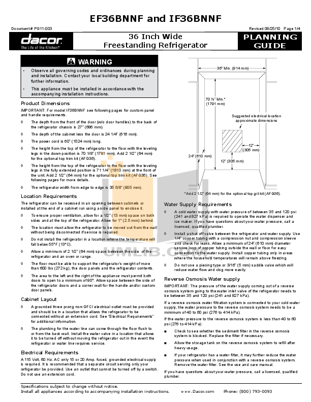 pdf for Dacor Refrigerator Integrated IF36BNNFSF manual