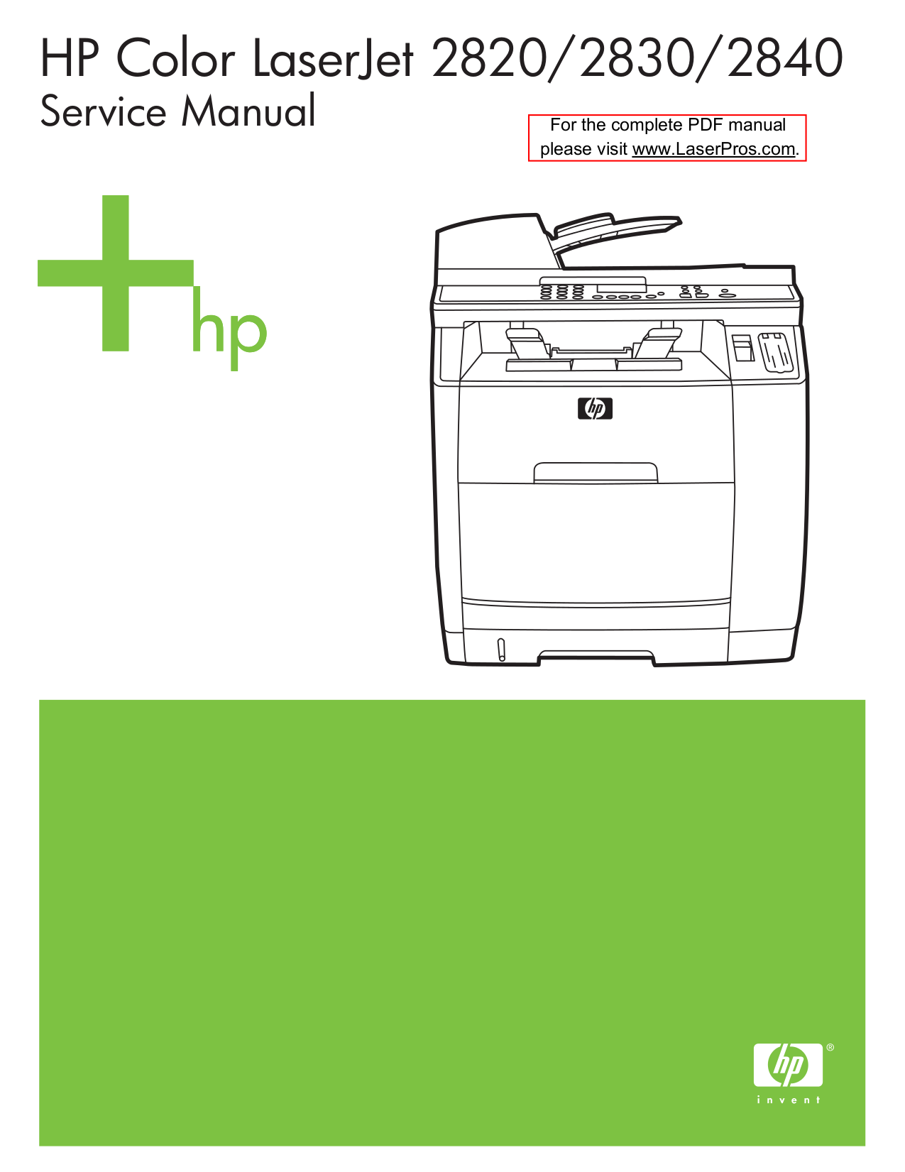 pdf for HP Multifunction Printer Laserjet,Color Laserjet 2820 manual