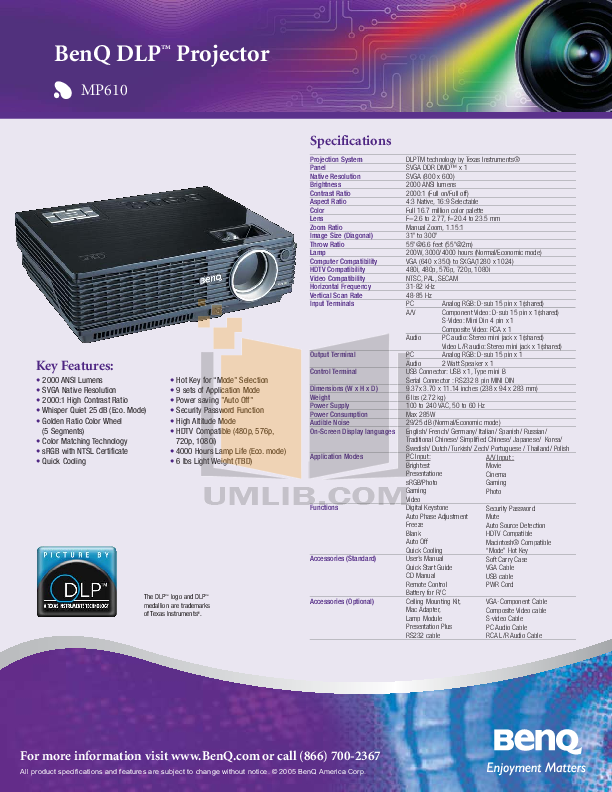 download free pdf for benq mp610 projector manual rh umlib com benq projector mp610 manual benq mp610 manuale italiano
