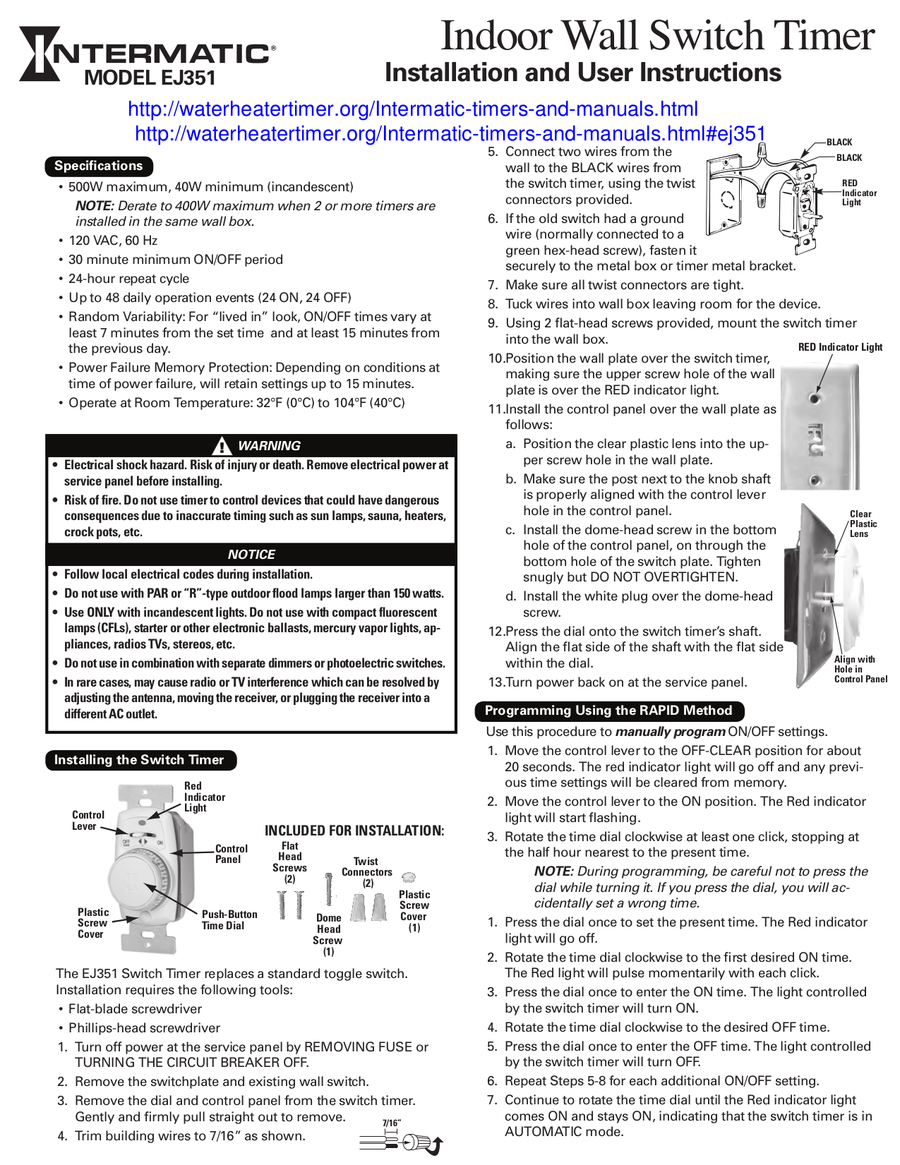 Download Free Pdf For Intermatic Ej351 Timers Other Manual Manual Guide