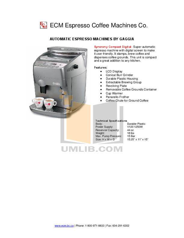 Download free pdf for Gaggia Syncrony Compact Digital Coffee Maker manual