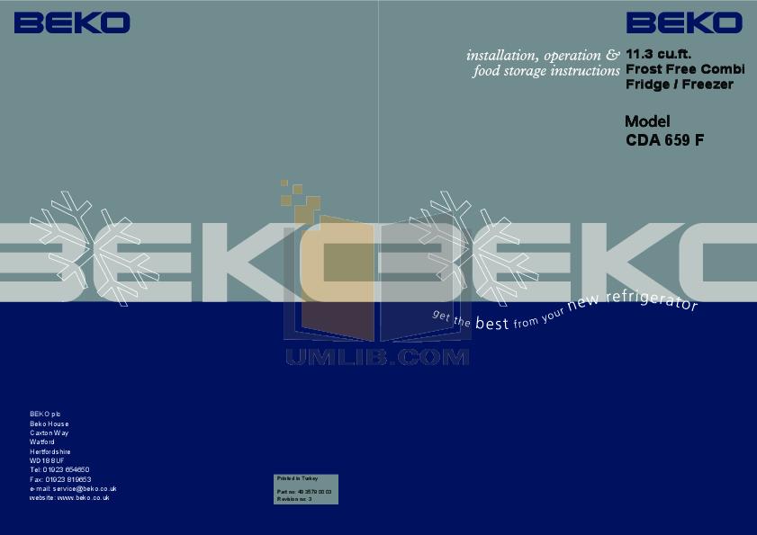 pdf for Beko Refrigerator CDA659F manual