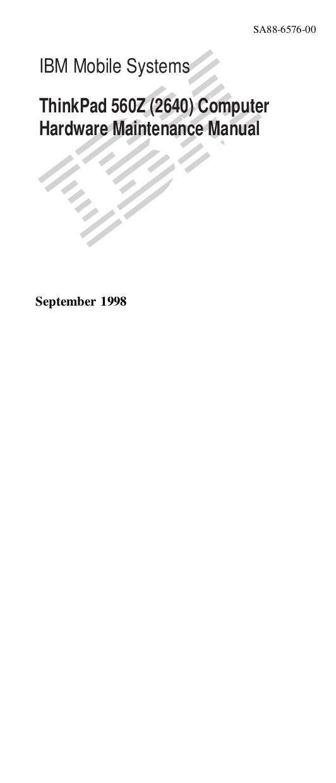 pdf for IBM Laptop ThinkPad 560Z manual