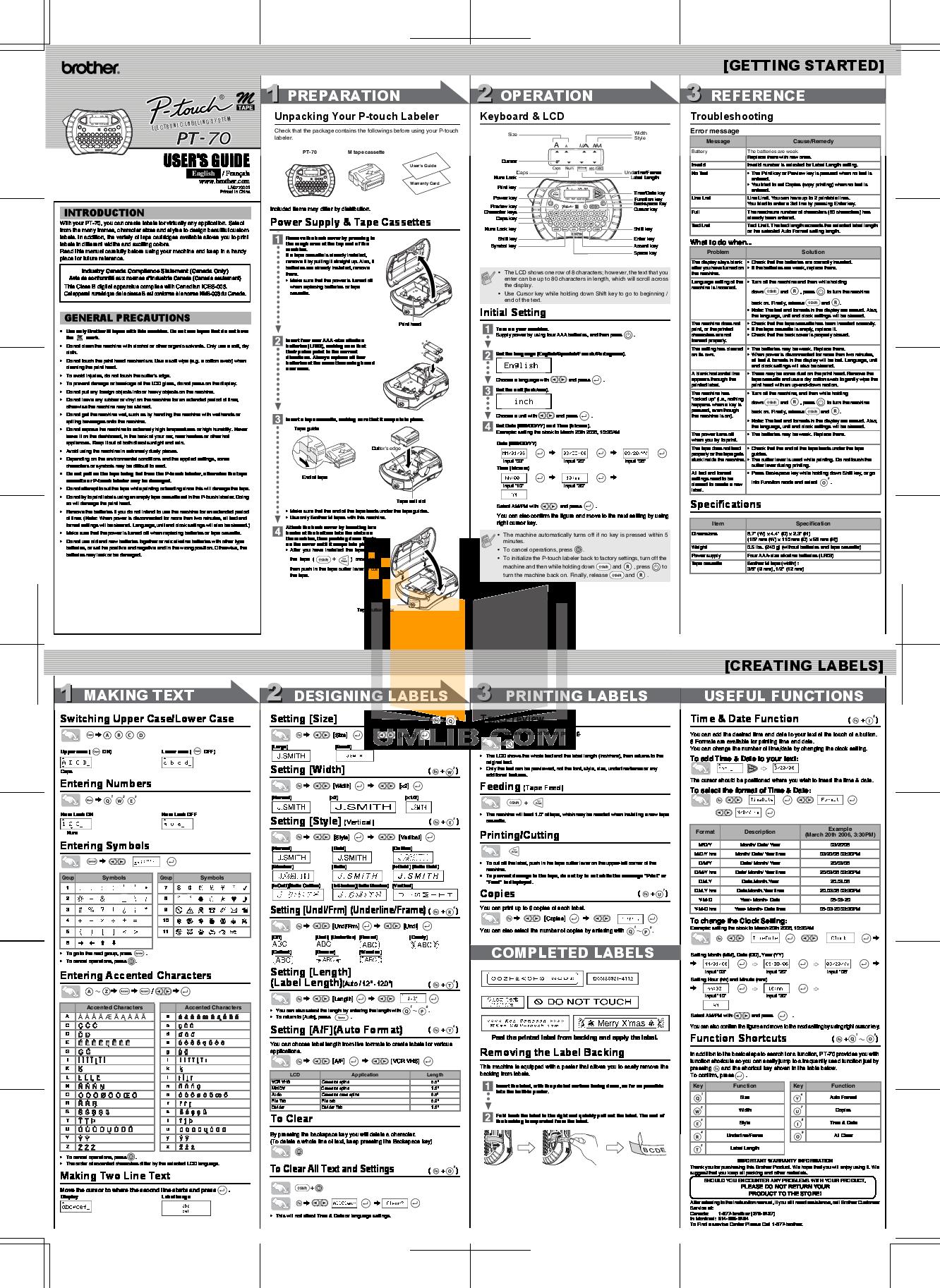 pdf for Brother Printer PT-110 manual