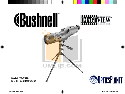 pdf for Bushnell Other ImageView 78-7348 Spotting Scope manual