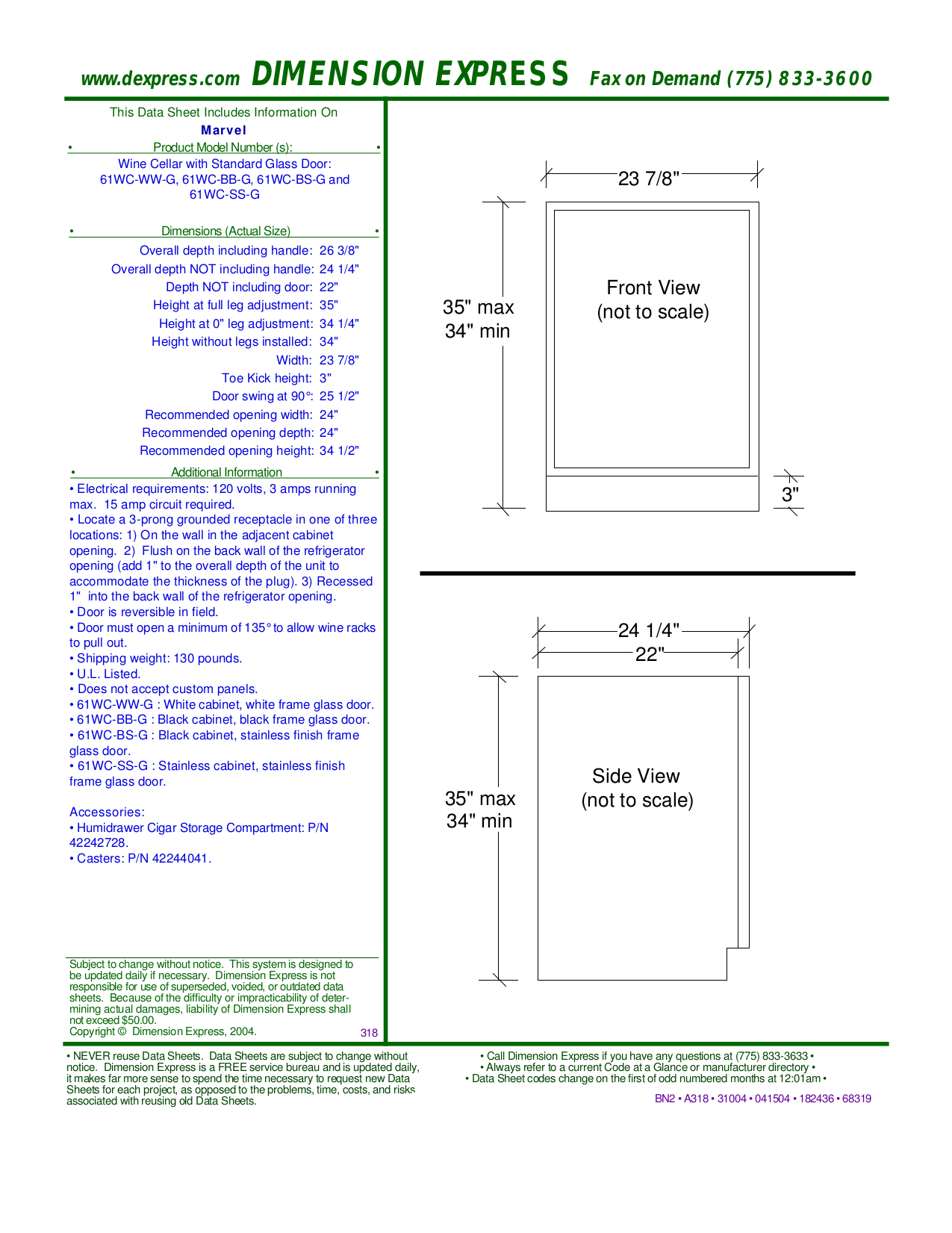 pdf for Marvel Refrigerator 61WC-BB-G manual