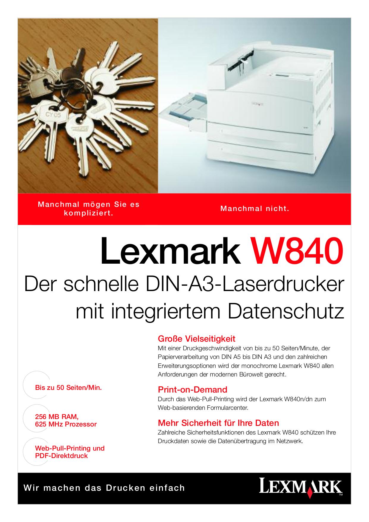 pdf for Lexmark Printer W840dn manual