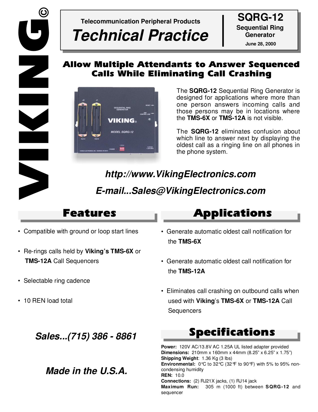 pdf for Viking Other TMS-6X Call Sequencers manual