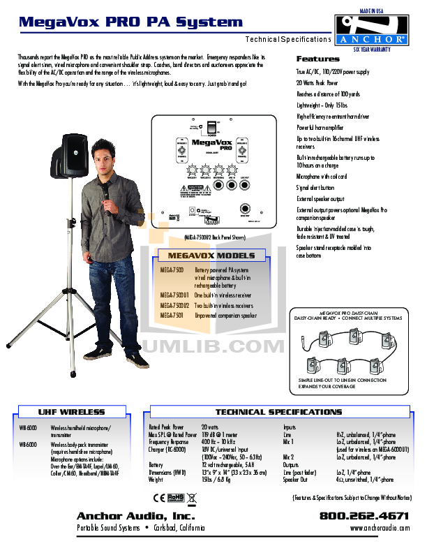 pdf for Anchor Speaker MEGA-6000 manual