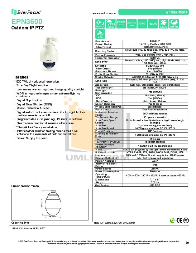 pdf for EverFocus Security Camera EPN3600 manual