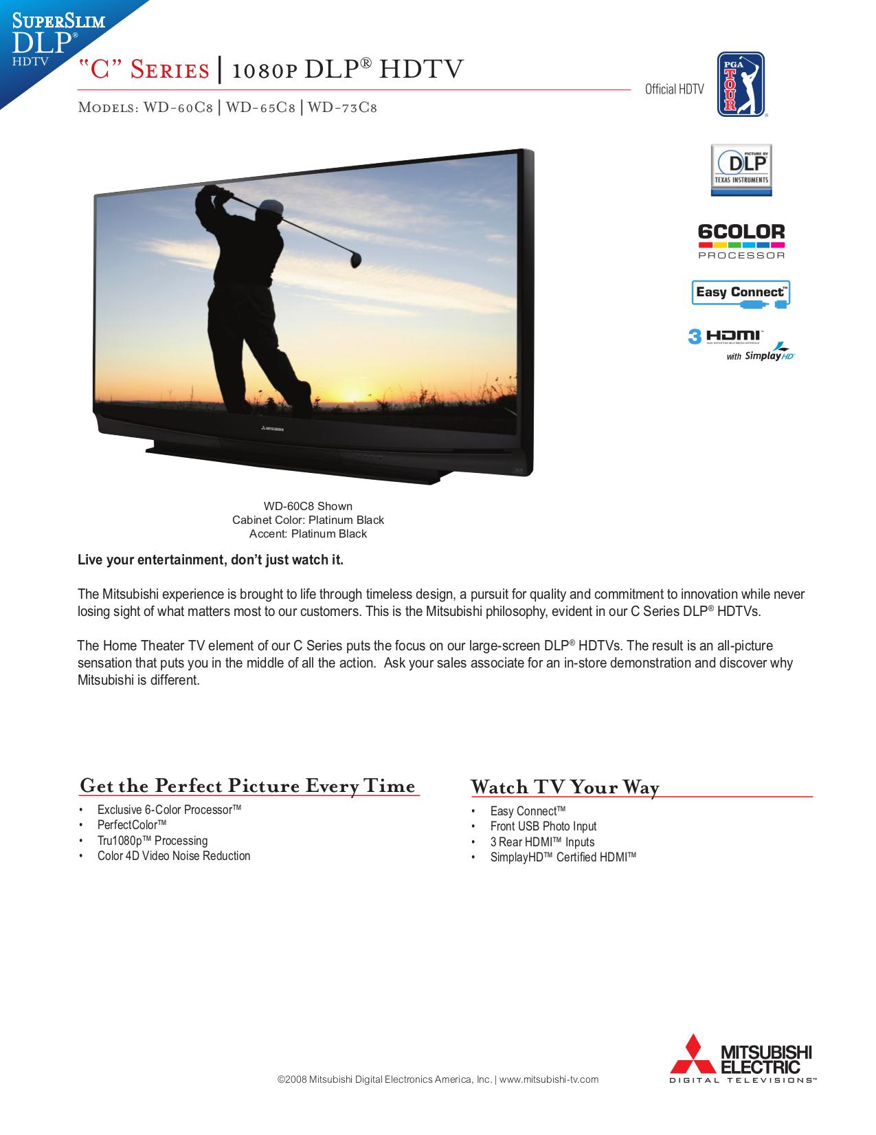 pdf for Mitsubishi TV WD-73C8 manual