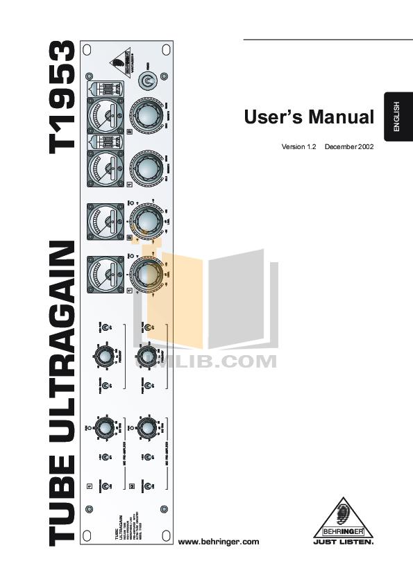 pdf for Behringer Amp T1953 manual