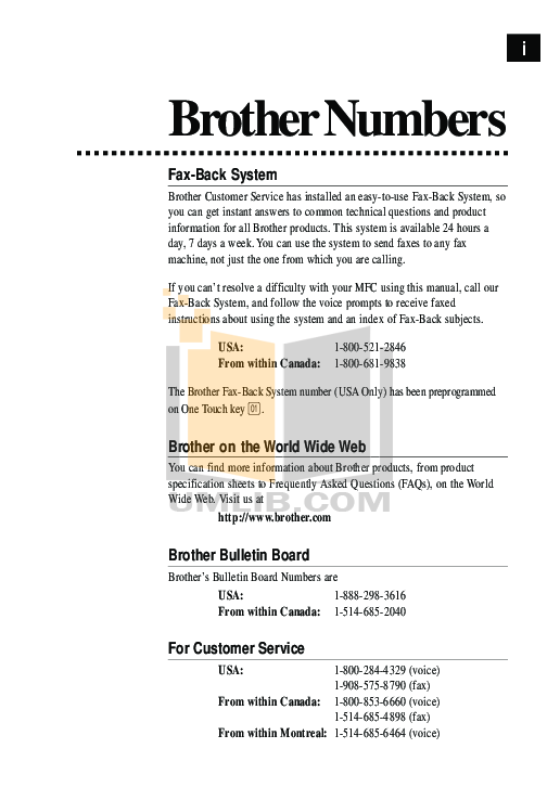 Brother Fax Machine FAX-170 pdf page preview