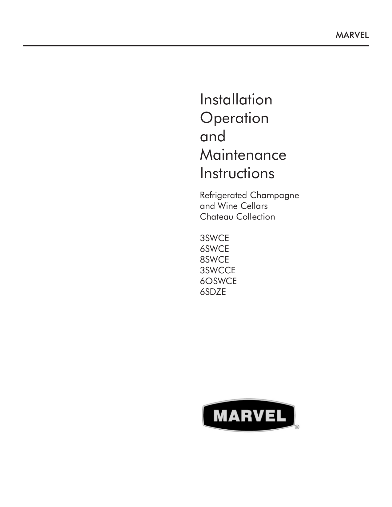 pdf for Marvel Refrigerator 3SWCE-BS-G manual