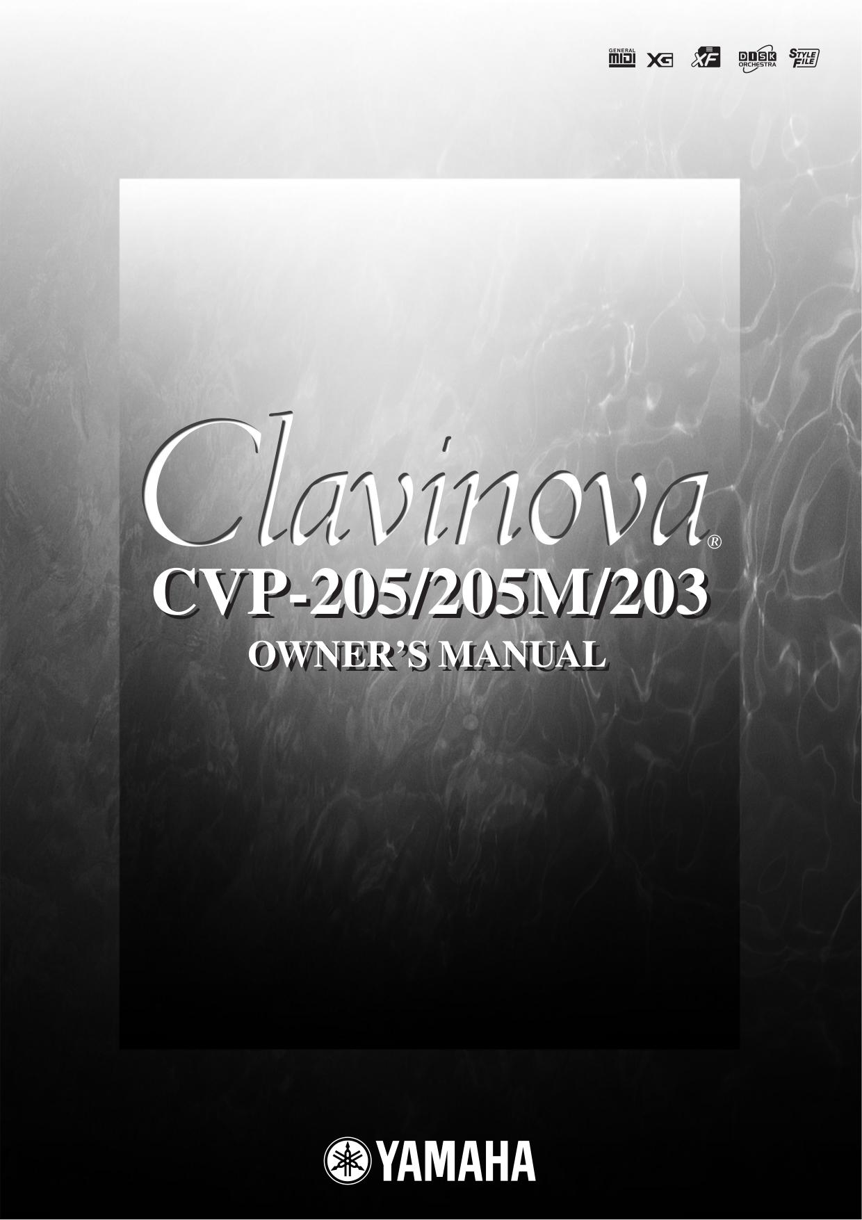 pdf for Yamaha Music Keyboard CVP-203 manual