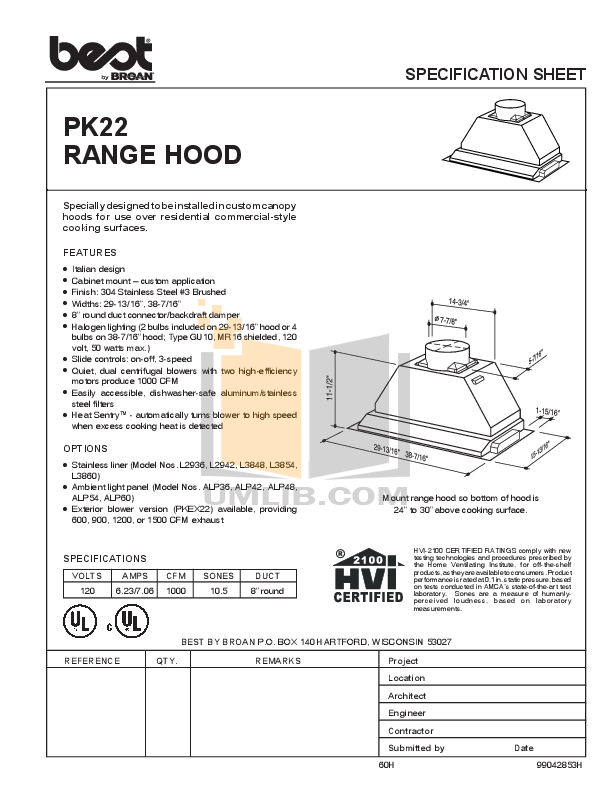 pdf for Broan-NuTone Other L3854 Hood Liners manual