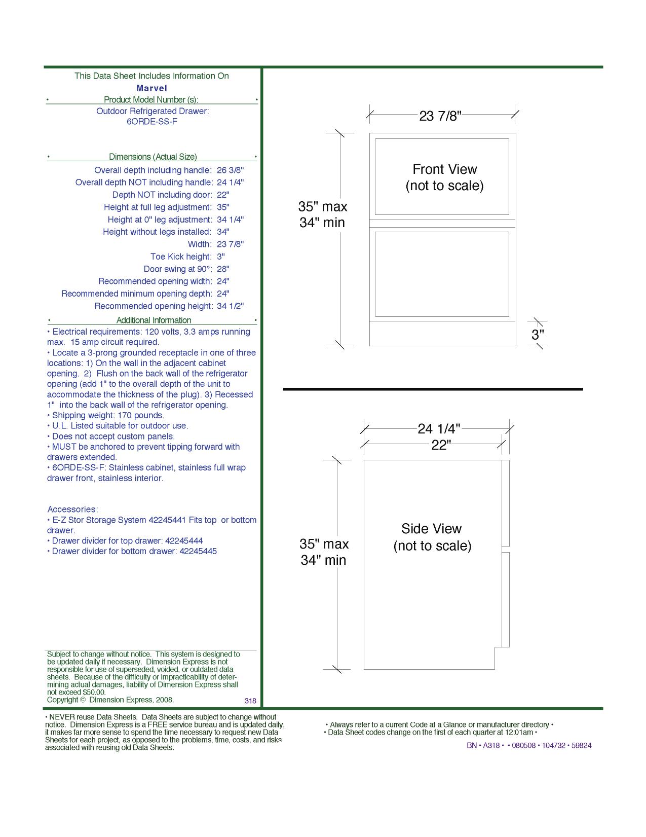 pdf for Marvel Refrigerator 6ORDE-SS-F manual