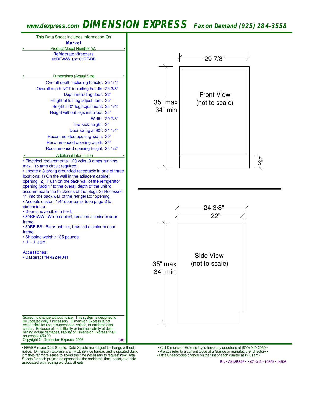 pdf for Marvel Refrigerator 80RF-WW manual