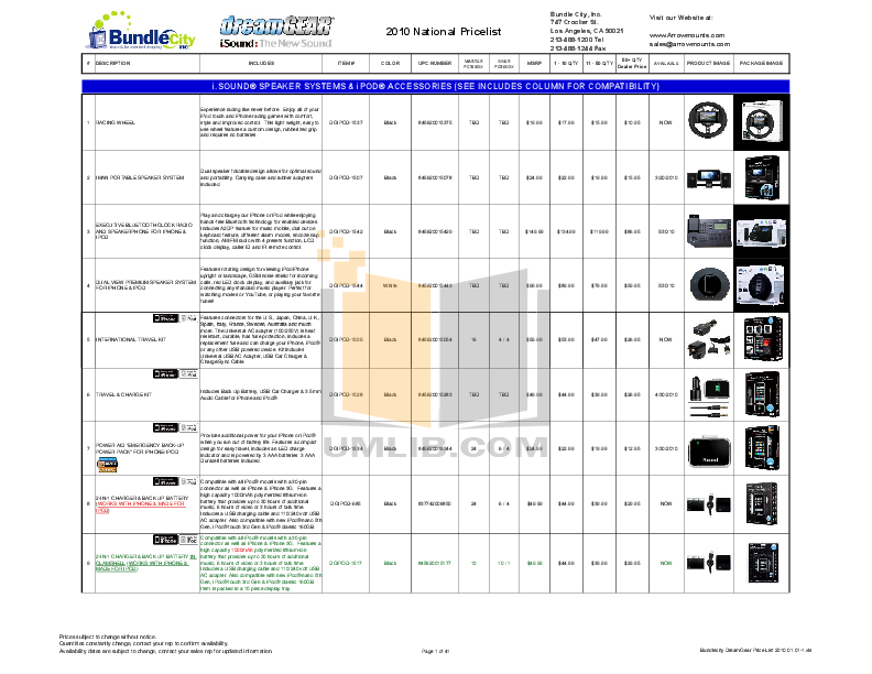 pdf for Dreamgear Speaker System iSound 4X Glow manual