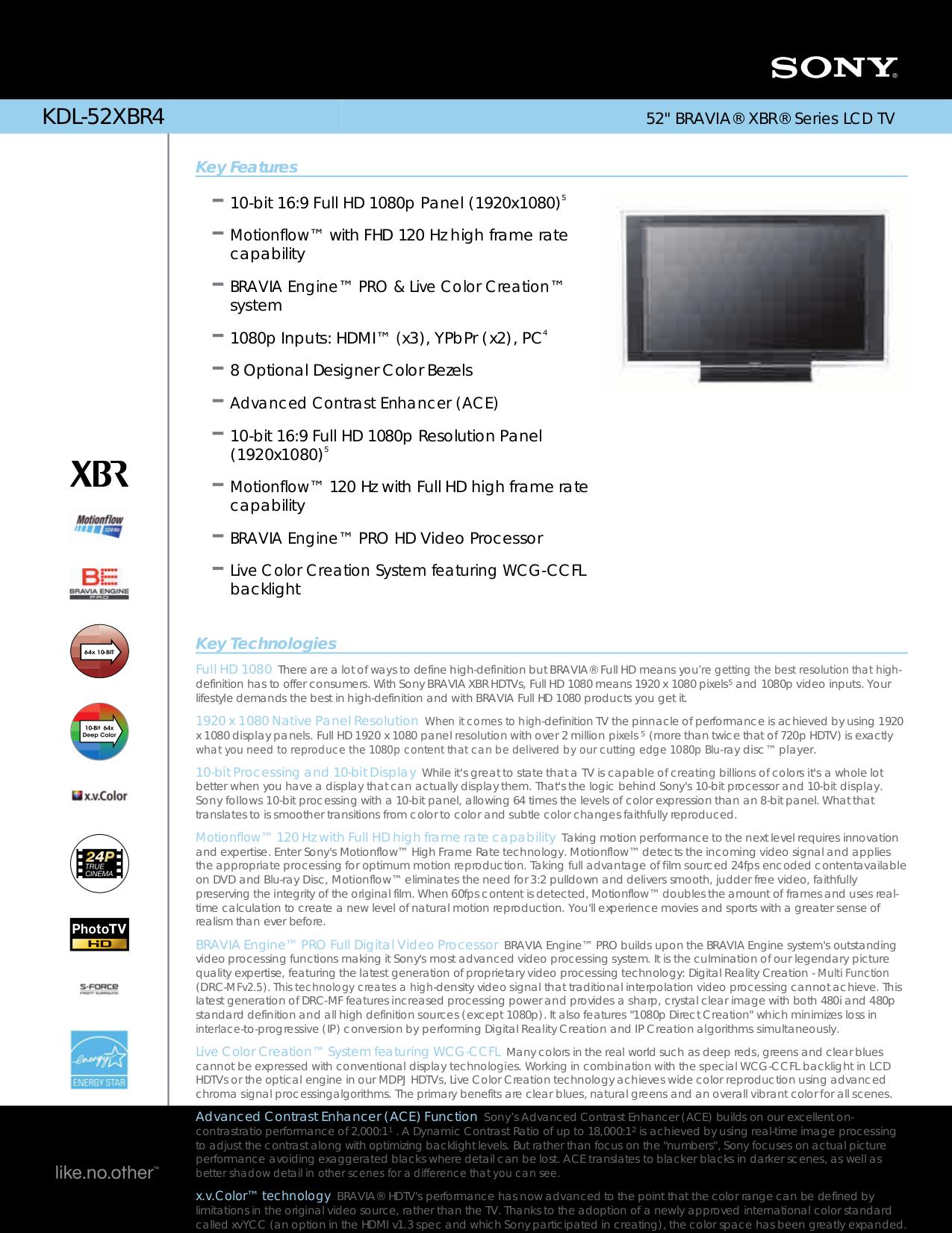 download free pdf for sony bravia kdl 52xbr4 tv manual rh umlib com JVC KD AVX77 Manual Cell Phone Operation Manuals