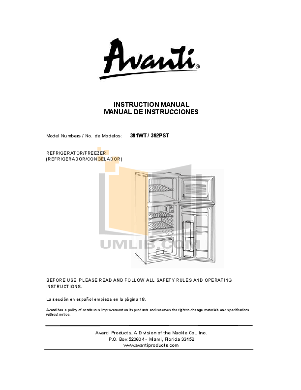 pdf for Avanti Refrigerator 391WT manual