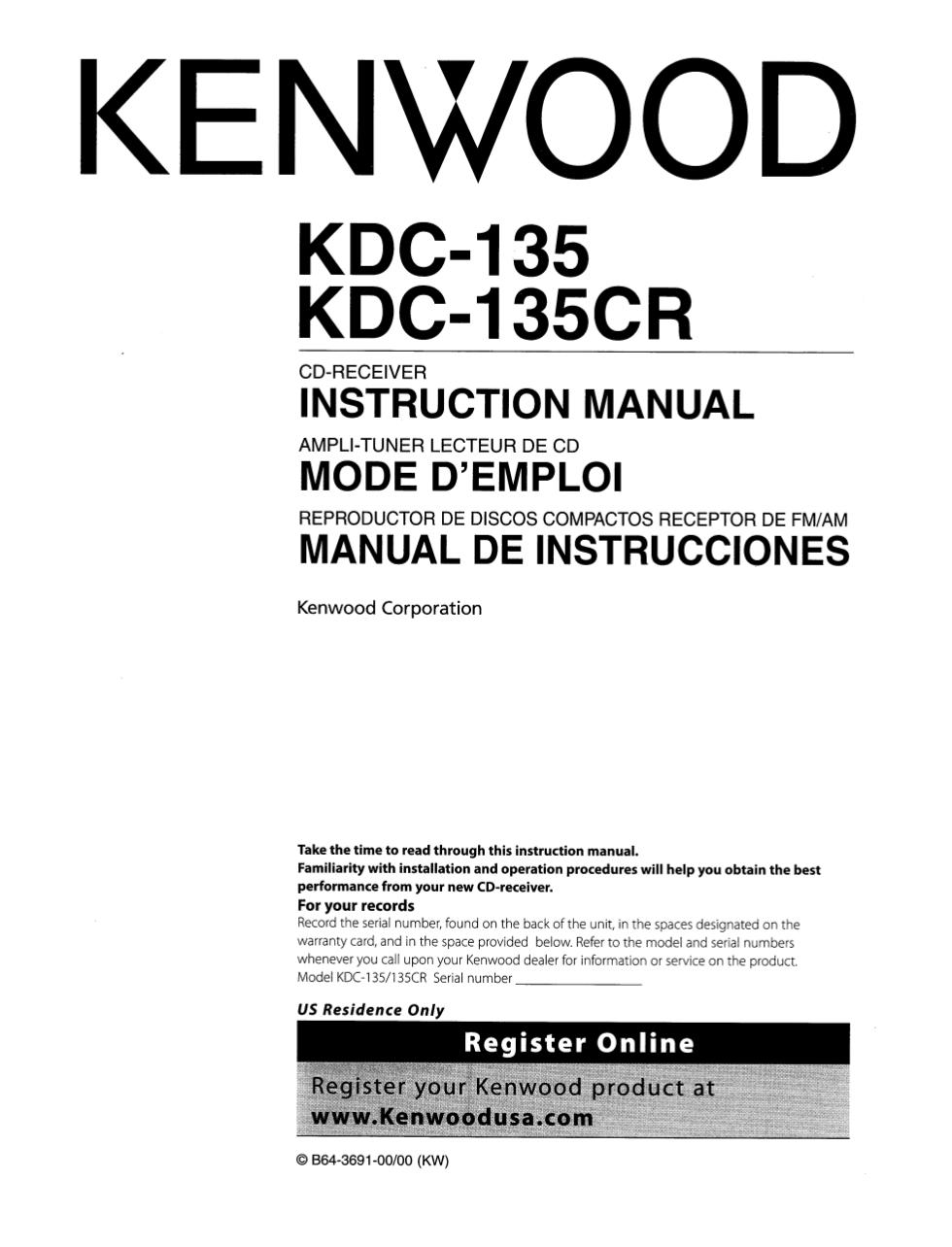 Download Free Pdf For Kenwood Kdc 135cr Car Receiver Manual 119 Wiring Diagram