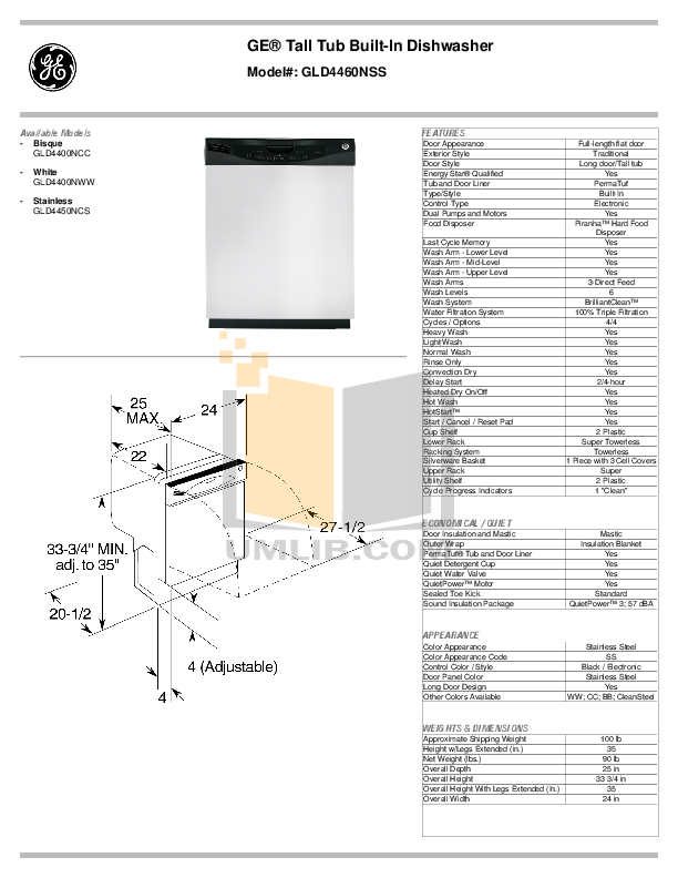 pdf for GE Dishwasher GLD4460NSS manual