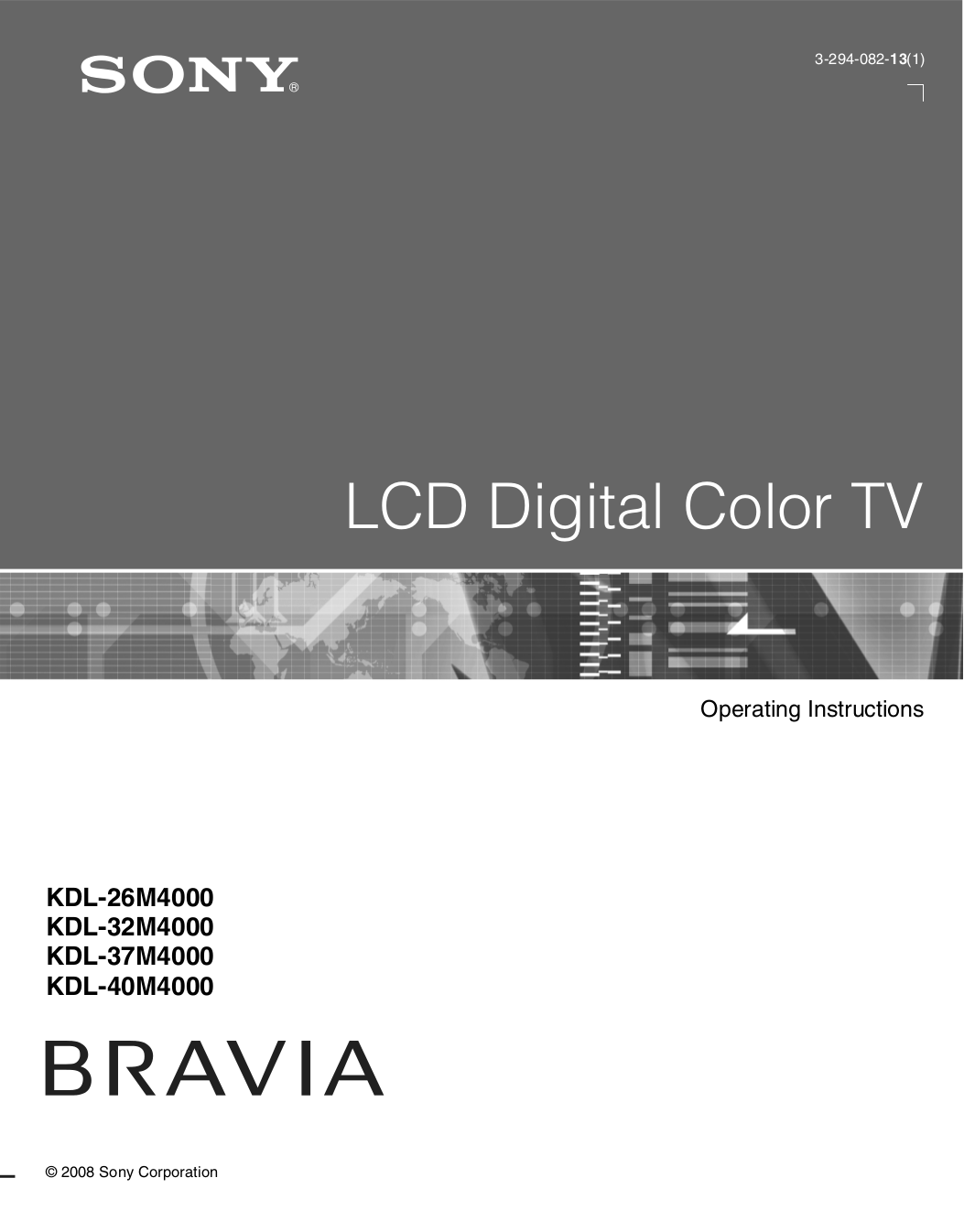 Sony Bravia Tv Kdl-40v2500 Manual
