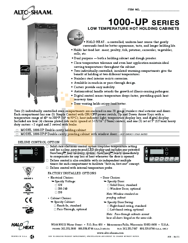 pdf for AltoShaam Other 1000-UP Warmers manual